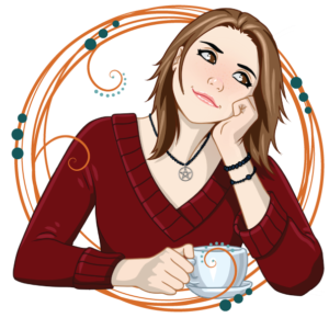 illustrated rendition of Heidi, head in hand, holding a cup of tea in the other